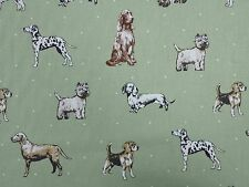 Clarke and Clarke Best of Show Dogs Sage Curtain Upholstery Craft Fabric