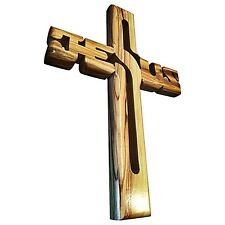 Carved Cross Olive Wood Jesus Christ Wall Hanging Crucifix Holly Land
