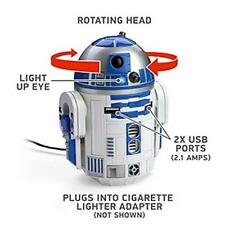 Officially-Licensed Disney Star Wars R2-D2 Usb Car Charger Free New