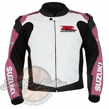 SUZUKI 1078 Women's Girl Leather Motorcycle Motorbike Cowhide Pink Biker Jacket