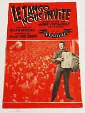 Partition vintage music sheet ANDRE VERCHUREN : Le Tango Nous Invite * Accordéon