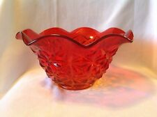 Vintage Large Bowl Indiana Glass Monticello Amberina Red Yellow Serving Dish