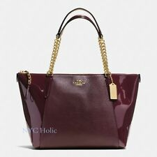 New Coach F55443 Ava Chain Tote In Pebble Patent Leather Gold Oxblood NWT