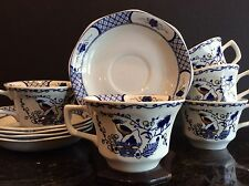 WEDGWOOD VOLENDAM CUP & SAUCER SETS BLUE & WHITE CHINOISERIE