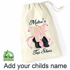 Tap Shoes Cotton Draw String Shoe Bag/Sack Personalised Print Birthday/Gift