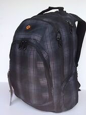 """19"""" Brand new laptop backpack, dark grey chequer, Multi-zippers"""