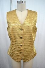 LUXUS LEDER COUTURE Weste ESCADA gold leather 42/44 Landhaus SHABBY Country TOP