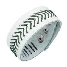 Urban Male Genuine White Leather Cuff Bracelet & Green Cord Stitching Wristband