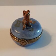 Limoges Porcelain Yorkshire or Cain Terrier Yorki on a Blue Round Trinket Box