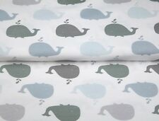 Organic Cotton Jersey Whale Blue in White / Sold by the half METRE / Stenzo