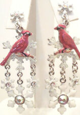 KIRKS FOLLY ~~NEVER RELEASED ~~WINTER SONG CARDINAL SNOWFLAKE PIERCED EARRINGS