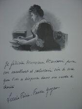 Gravure Portrait de Mme Lucie FELIX FAURE GOYAU  Fille de Félix Faure 1906