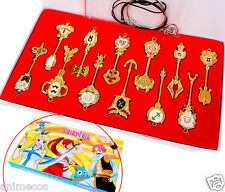 Newest 12pcs Fairy Tail Lucy Cosplay Keys Pendant Necklace Keychain + Box Gift
