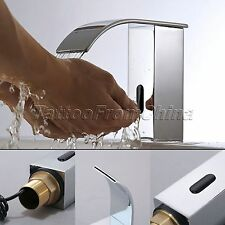 Bathroom Faucet Automatic Sensor Hands Free Touchless Waterfall Chrome Mixer Tap