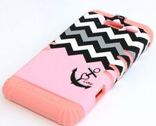Motorola Droid RAZR M i XT907 -HARD & SOFT HYBRID CASE PEACH PINK / GREY CHEVRON