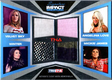 TNA Mickie James Winter A Love V Sky 2011 Impact SILVER Quad Relic Card 183 /199
