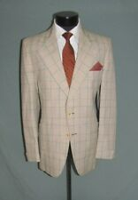 Stunning Vintage Two Button side Vents Flat Front men Plaid suit 40 R USA