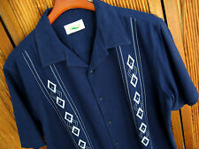 NWT Mens Silk Camp Shirt Navy Blue Embroidered Retro Bowling Rockabilly Large L