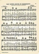 """Vtg UNIVERSITY OF MISSISSIPPI song sheet  """"WAY DOWN SOUTH"""" c 1938 ~ OLE MISS"""