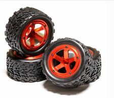 Integy Alloy Beadlock Wheel & Tire Set for 1/10 Stampede 2WD Rustler 12mm Red