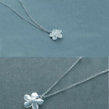 Fashion Women Lotus Flower Shaped Pendant Chain Necklace Charm Silver Plated