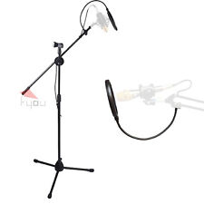 Stand Dual Mic Clip Folding Type Boom Arm Tripod with Pop Filter for Microphone