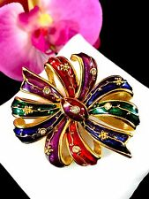 GORGEOUS JOAN RIVERS BEJEWELED RHINESTONE ENAMEL HOLIDAY RIBBON BOW BROOCH PIN