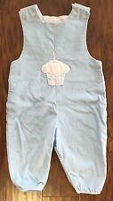 Bailey Boys 12m Blue Cord Birthday Cupcake Appliqué One Candle Longall Romper