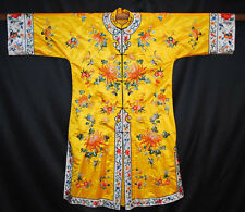 20thC. CHINESE SEMI FORMAL EMBROIDERED CHRYSANTHEMUMS LADIES ROBE