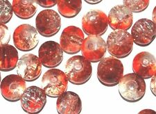 x100 COLOURED GLASS ROUND CRACKLE CRAFT BEADS - 8mm - RED / CLEAR TWO TONE