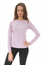 "e.vil Silk Cashmere Sweaterw/Crystals ""Beauty, Brains"" Light Purple Size S"