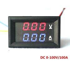 DC 100V 50A Voltmeter Ammeter Blue + Red LED Amp Dual Digital Volt Meter Gauge
