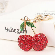 Cherry Red Leaves Cute Lovely Pendent Swarovski Crystal Purse Bag Key Chain Gift
