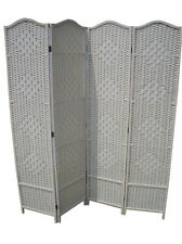 DRESS SCREEN 4 PANEL CREAM PARTITION CLASSIC WOVEN PARTITION DIVIDER