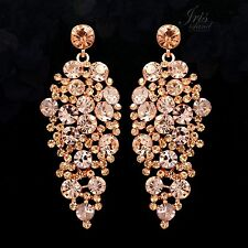 ROSE GOLD Plated Peach Crystal Rhinestone Wedding Drop Dangle Earrings 05384 New