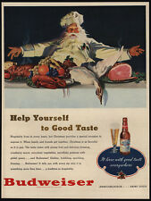 1947 BUDWEISER Beer - SANTA CLAUS - Father Christmas - Goose Dinner - VINTAGE AD