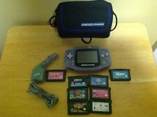 Nintendo Gameboy Advance Glacier Purple Bundle w/ Case, Car Charger & 8 Games
