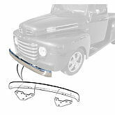 1948-1952 Ford pickup plain steel front bumper with brackets