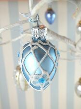 *6 Glass Easter Ornaments*Hand Painted*MouthBlown*Blue*Silver*White*Gold*Poland*
