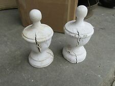 "PAIR large VICTORIAN era wooden fence post cap FINIALS ~ WHITE - 10""h x 5.75 dia"