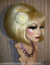 Drag Queen Wig Bob in Pale Bleached Blonde Teased up big with Bangs