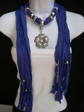Women Chic Scarf Necklace Blue Fashion Soft Heart Flower Silver Bead Pendant