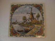Delfts Polychrome Handpainted Made in Holland Windmill Flowers Ceramic Tile 88