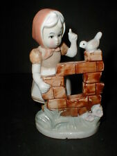 Japanese Porcelain Girl w Bird on Fence Figurine Made in Japan - Cute