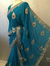 ��LATEST 2016 INDIAN BOLLYWOOD  BRIDAL GEORGETT SARI/SAREE+BLOUSE+PETICOAT
