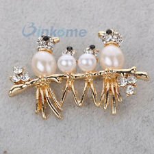 Gold Plated crystal Pearl Bird Family Brooch Pin party wedding bridal Jewelry