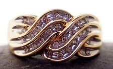 Vintage 10 k yellow gold ring, wide , flat design set with Diamonds