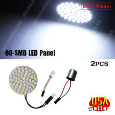2X Pure white 60-SMD LED Interior RV Trailer Camper Light Panel+1156 T10 Adapter