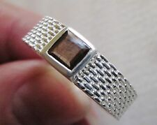 Men's Genuine Brown Sapphire Band Ring, 925 Sterling Silver, size 12 --7.8 grams