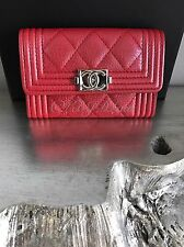 NWT CHANEL 2017 RED CALF Caviar BOY Card Holder Silver Coin O-Case Pouch Wallet